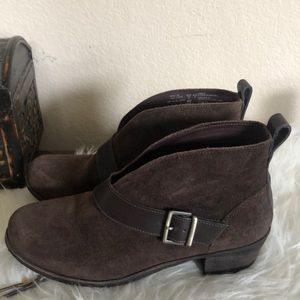 UGG brown suede buckle booties boots